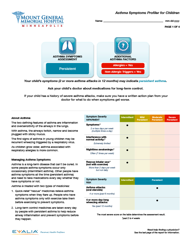 Asthma Symptoms Profiler (Children)